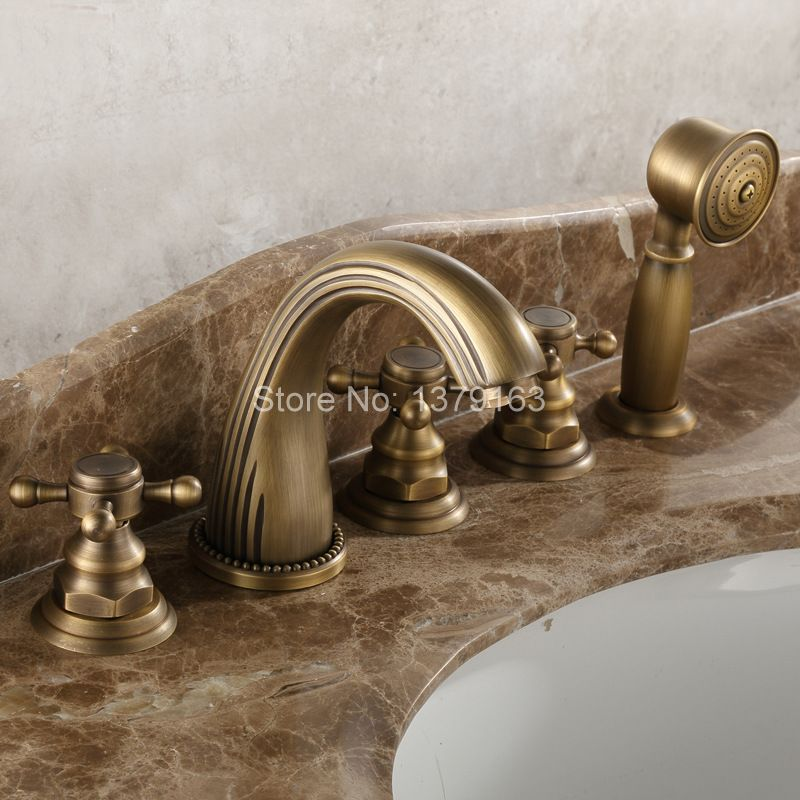 Deck Mounted 5 Holes Bathtub Mixer Faucet Antique Brass Widespread 3 Handle bathroom basin Faucet Set Handshower atf051 цена