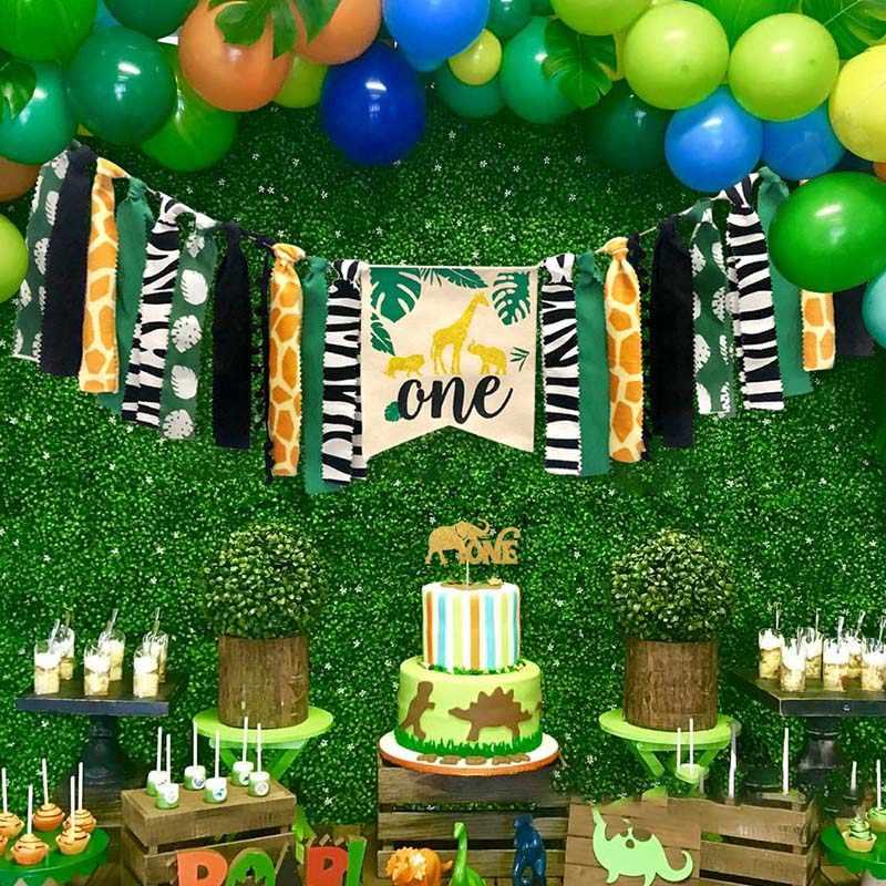 สัตว์ป่าชุด Highchair แบนเนอร์ตกแต่ง Crown อุปกรณ์สำหรับทารก 1st วันเกิด QP2