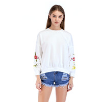 Woman Fashion 2019 Blouse Sexy Leisure and Loose Long Sleeved Casual Wear for Ladies White Cotton Tunic Embroided Office Blouse