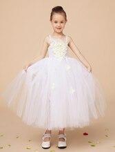 Fashion Ivory little girls princess dresses with appliques elegant formal wedding flower girls dresses kids pageant
