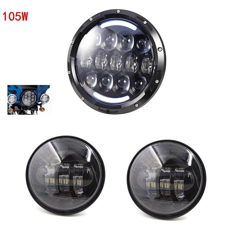 7 pouces H4 phare led DRL Turn témoin lumineux et 4.5 pouces passant lampes brouillard lumières pour Harley Moto
