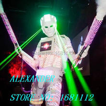 LED robot Costume / LED Clothing / Light suits / LED Robot suits / david robot / custom white, golden robot