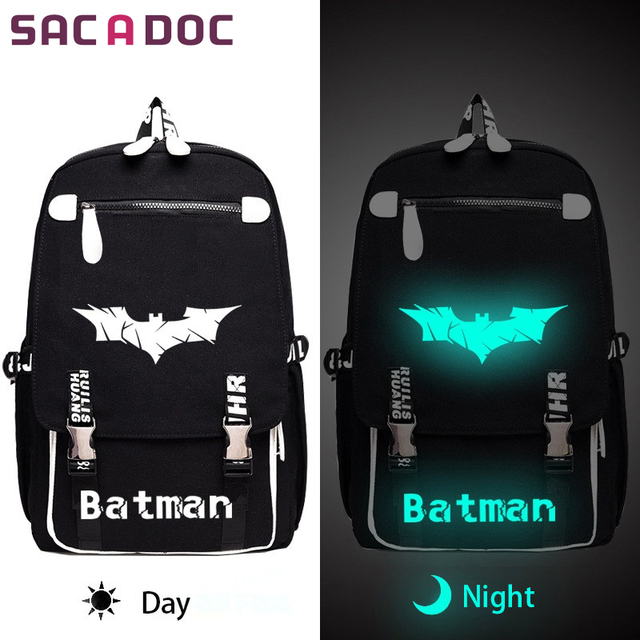 Batman Backpack Super Hero Printing Luminous For Age Women Canvas School Book Bags Men Casual