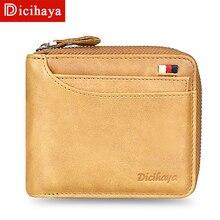 DICIHAYA, мужской кошелек из натуральной кожи, держатель для карт, сумка для монет, мужской роскошный короткий кошелек, кошелек на молнии, кошельки, повседневные стандартные кошельки