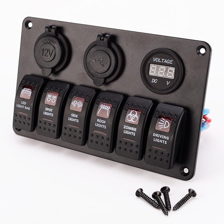 6 Gang camion interrupteur panneau commutateurs 24 V 12 V voiture double USB chargeur allume cigare prise rouge bleu LED RV Yacht bateau marin interrupteur