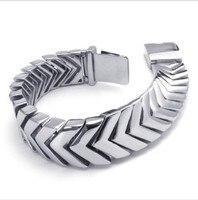 Width 18mm New Arrival Men 316L Stainless Steel Wide Cuff Bracelet For Boy Friend Gift
