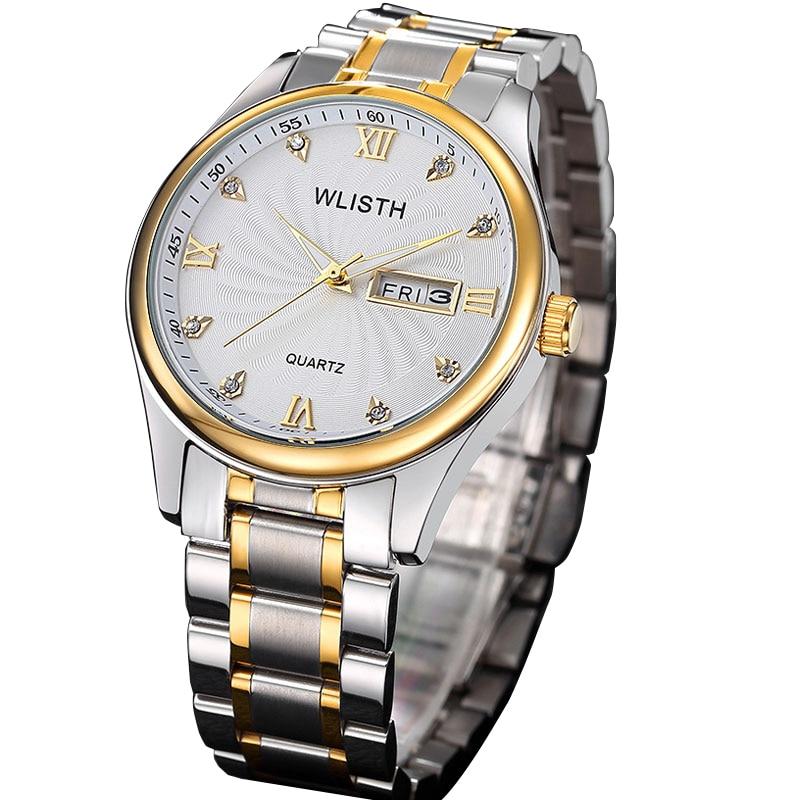WLISTH Luxury Brand Men Quartz Analog Watch Retro Roman Numerals Wrist Watch Full Stainless Steel Waterproof Date Wristwatch