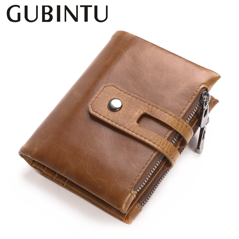 Genuine Leather Men Wallets Double Zipper Pockets For Cards Coin Purses Men Fashion Card Holders For Men Wallets