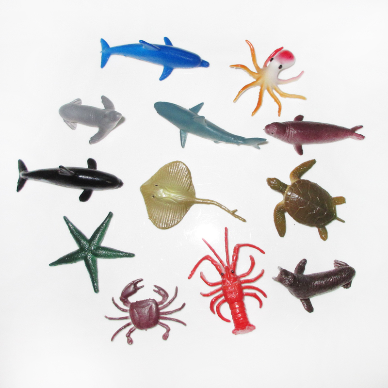 (12 pcs/set) Realistic Sea Animal Figures Playset Toy dolphin crab walrus Plastic Underwater Ocean Life Creatures Models 65 pcs set small sea animals toy figurine mixed lot ocean creatures fish marine life solid model children gifts free shipping