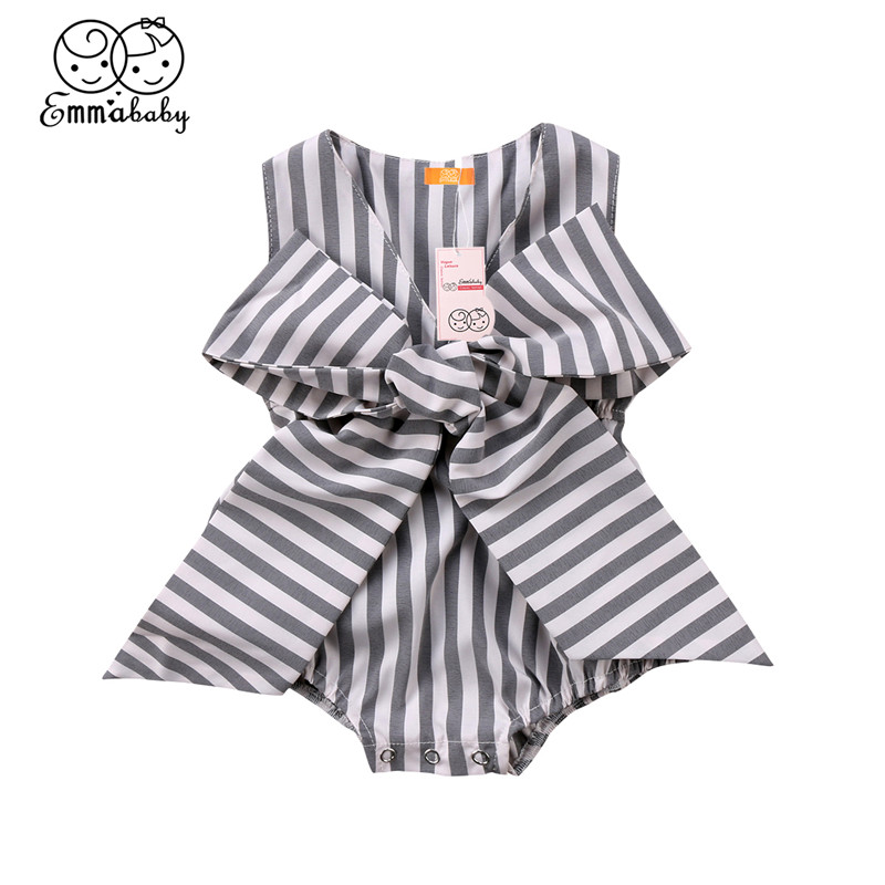Fashion Baby Girls Romper Summer Newborn Baby Girl Bowknot Sleeveless Romper Striped V-neck Jumpsuit 2018 Baby Clothing Outfits baby pink v neck tassel detailed jumpsuit