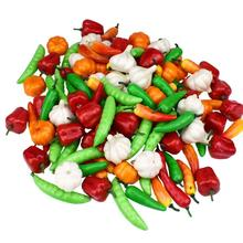 7 видов мини-моделирования искусственные овощи, перец, тыква, чеснок, фрукты, поддельные ролевые игры, режущие игрушки, наборы для украшения дома