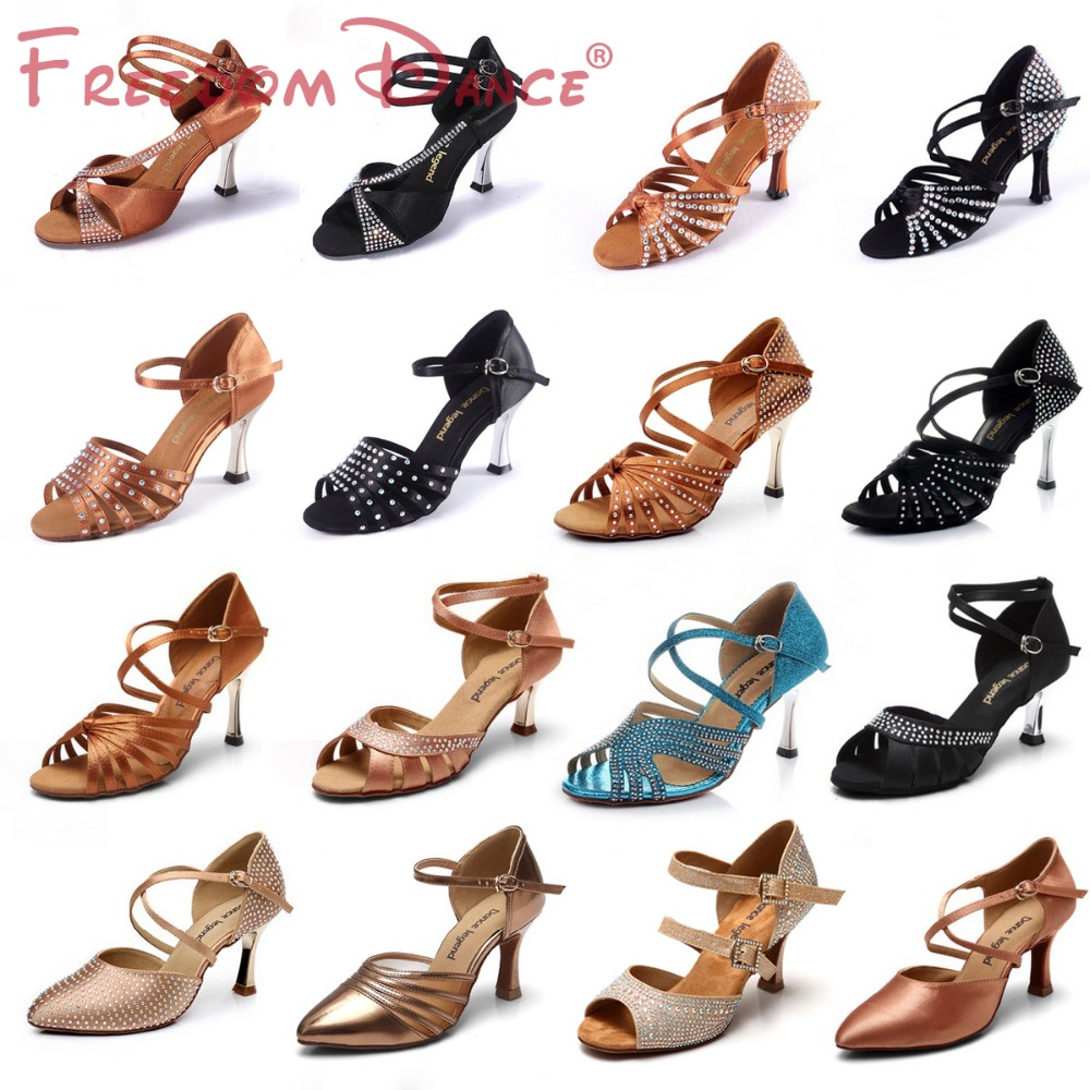 High Quality font b Women s b font Satin Upper Latin Dance font b Shoes b