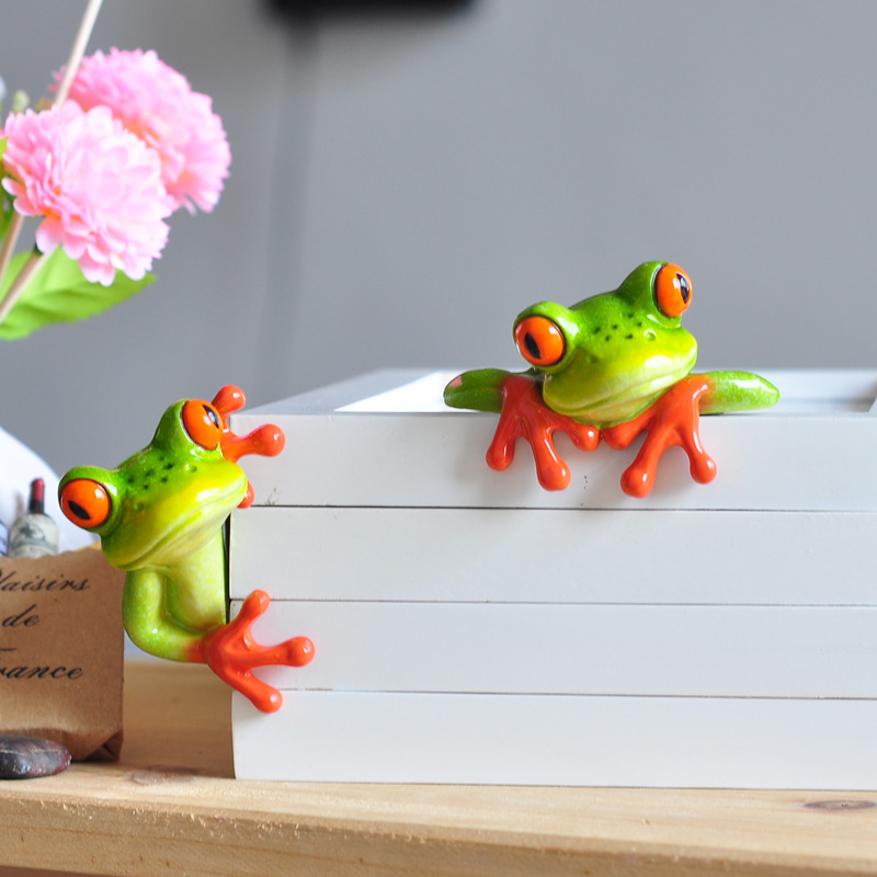 Frog figurine decoration 2017 new artificial animal crafts for Decoration jardin grenouille