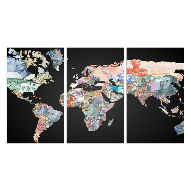 3 pieces of high definition no frame print world map canvas oil 3 pieces of high definition no frame print world map canvas oil painting poster and gumiabroncs Gallery