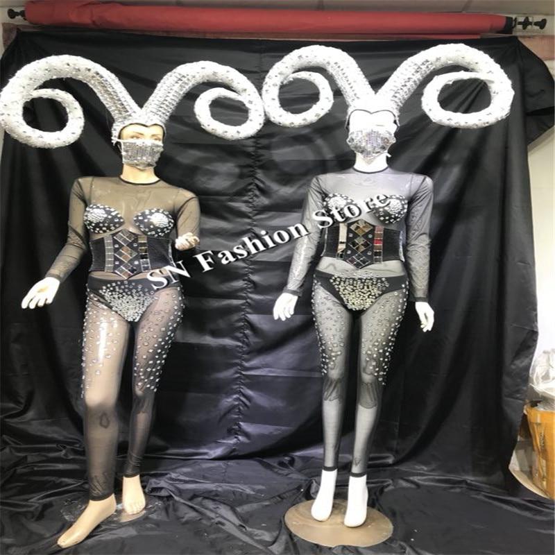 EC43 Ballroom dance costumes silver mirror suit catwalk performance clothe dj suit stage show wears Horn dress party bikini bra