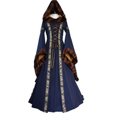 2017 Vintage Women Renaissance Victorian Medieval Maid Long Sleeve Dresses Gothic Brown Gowns Medieval Dresses Party Costumes