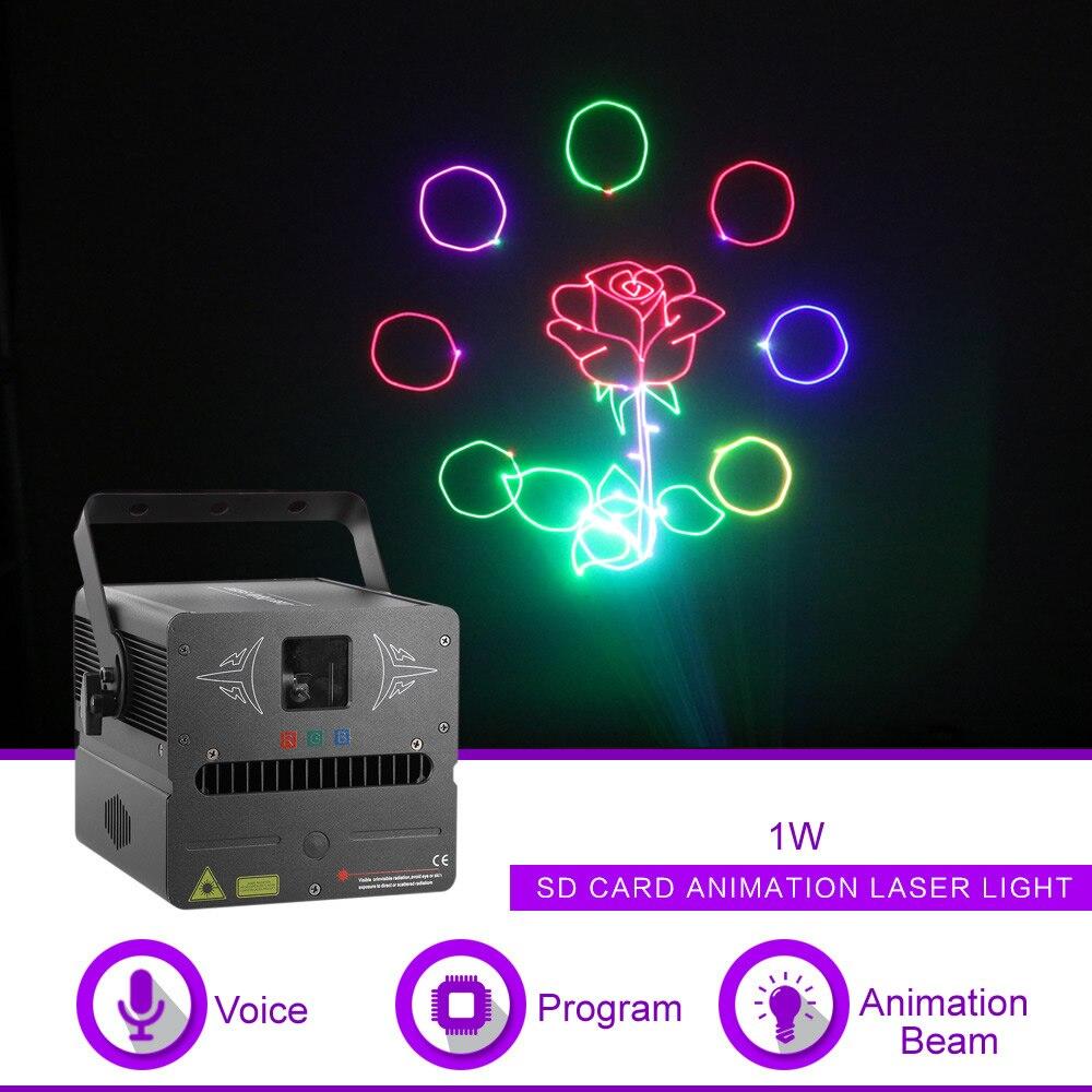 Sharelife 500 mw 1 W RGB Animation DMX carte SD projecteur Laser lumière pour la maison soirée DJ spectacle scène éclairage son Auto FB-SD