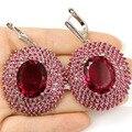 Pink Raspberry Rhodolite Garnet, Pink Tourmaline SheCrown Woman's Created   Silver Earrings 60x37mm