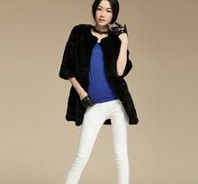 new Genuine real nautral rex Rabbit Fur Coat Women Long natural rabbit fur jacket sheared fur coat free shipping winter fur