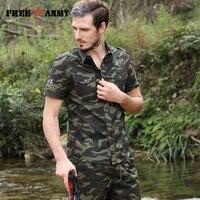 Free Army Brand Hot Mens Shirts Fashion 2017 Summer Short Sleeves Turn Down Collar Camouflage Men