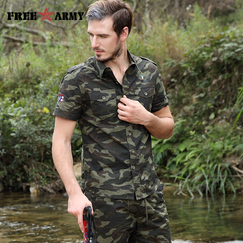 Free Army Brand Hot Mens Shirts Fashion 2017 Summer Short Sleeves Turn Down Collar Camouflage Men's Casual Shirts Ms-6558C