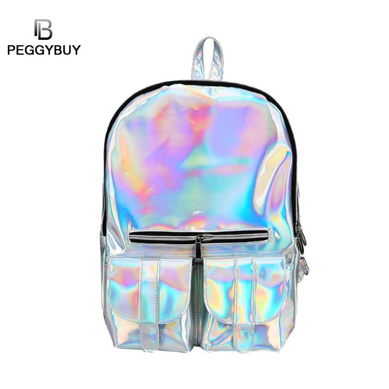 Women font b Laser b font Holographic Backpack College Style Shiny Leather Backpacks Teen Girls PVC