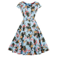 Vintage V Neck Dress 2017 Summer Female Mid Calf Floral Print Light Blue Short Sleeve Zipper