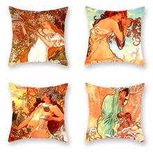 4pcs/set Baroque Cushion Cover Mucha Printed Decorative Pillow Covers Sofa Cases Home Living Room Decor Vintage Retro