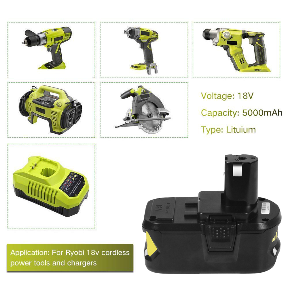 18V 5000mAh Rechargeable Lithium-ion Battery Replacement Power Tool Cell  for Ryobi Cordless Drill ONE+ P103 P108 18-Volt Tool