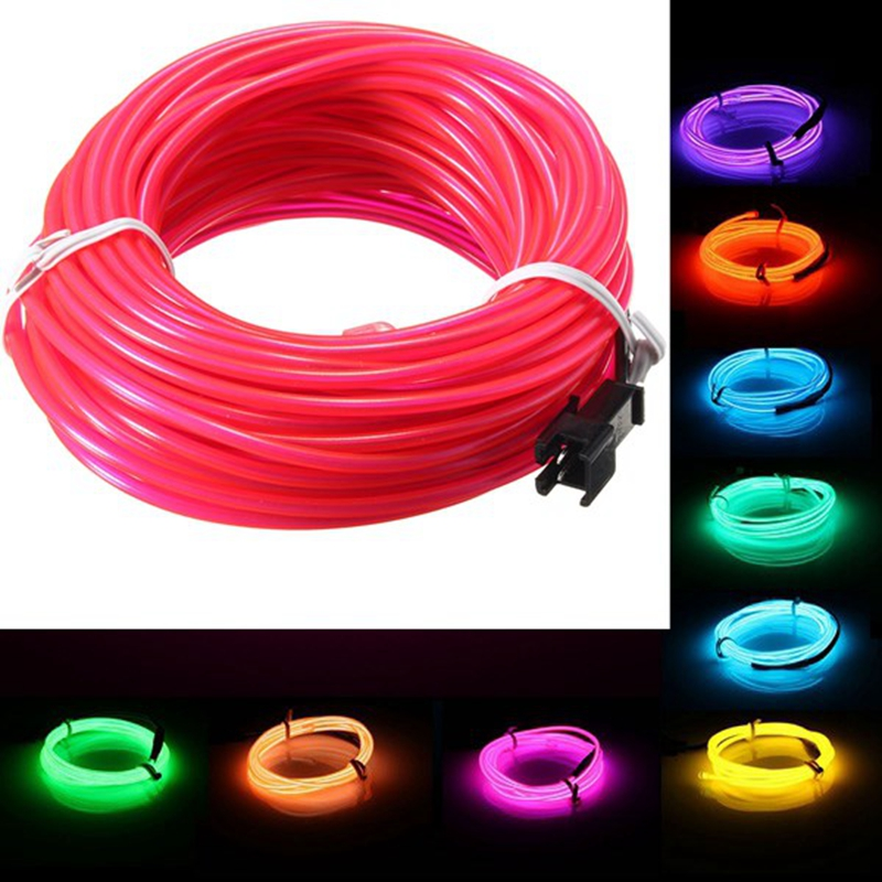 10M EL Led Flexible Soft Tube Wire Neon Glow Car Rope Strip Light Xmas Decor AC 12V