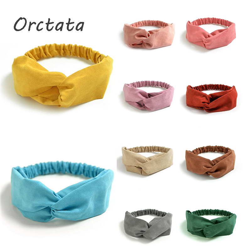 Chic Solid Pink Elastic Headbands for Women Fashion Cross Elastic Head Wrap Twisted Female Hair Band Girl Hair Accessories
