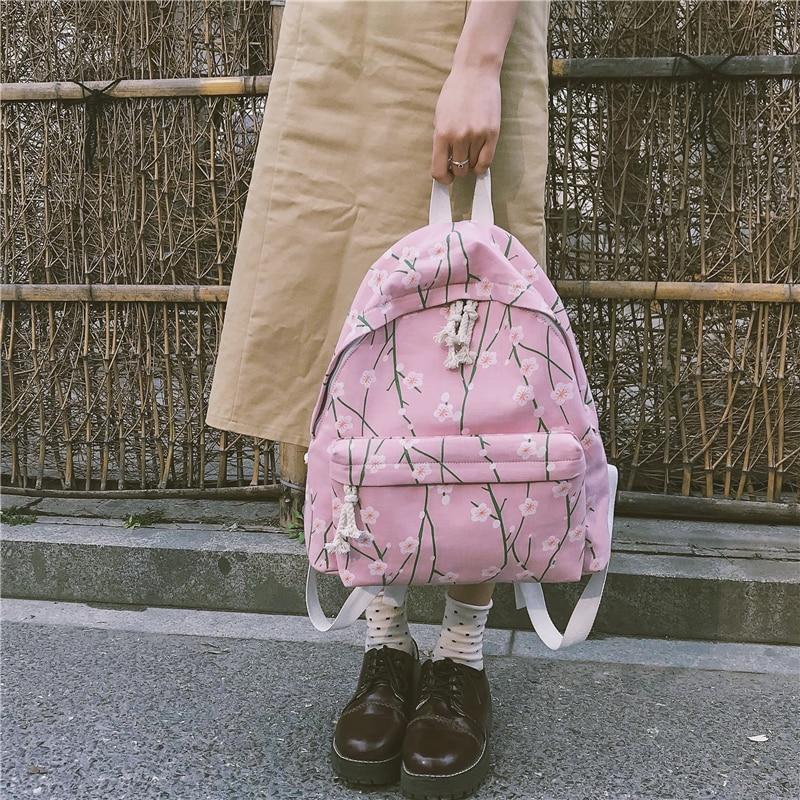 Literature and art fresh floral canvas shoulder bag female Korean backpack student backpack leisure travel backpack