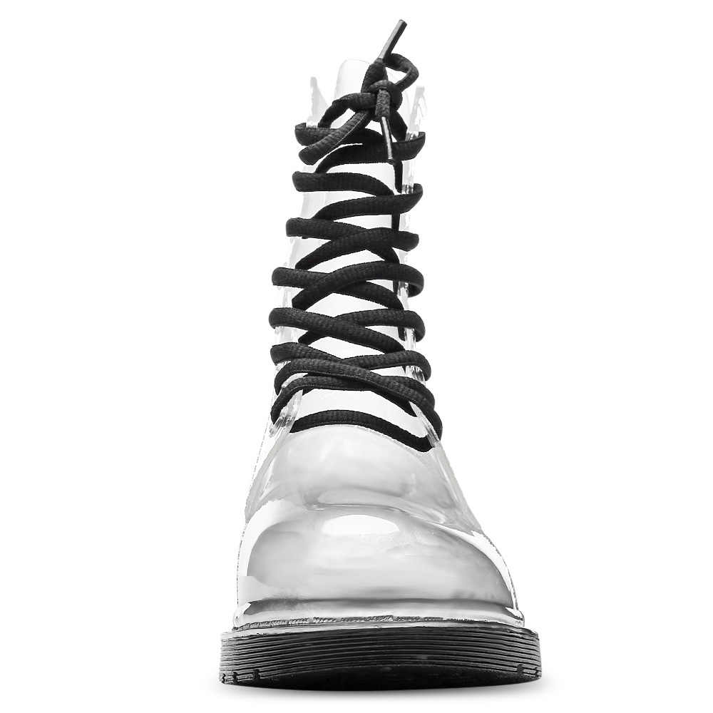 Botas de lluvia Aleafalling para mujer, zapatos impermeables con cordones para mujer madura, color caramelo transparente, zapatos de tobillo para chica al aire libre AW18