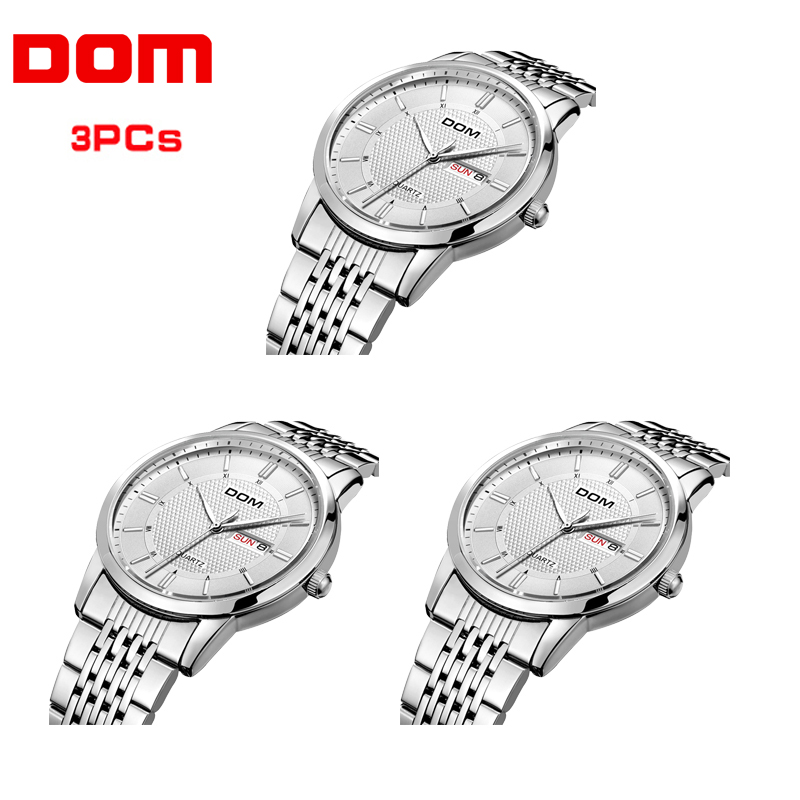 3PCs Wholesale DOM Watch Men Luxury Dress Quartz Watch Fashion Simple Waterproof  Wristwatch Dropshipping relogio masculino M-11