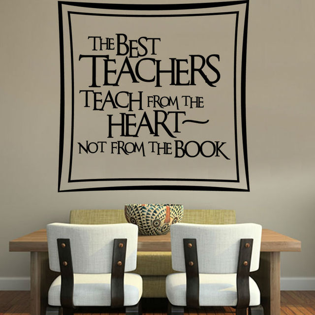 The Best Teachers Teach From Heart Home Decor DIY Removable Art Vinyl Quote Wall Sticker For Dinning Hall
