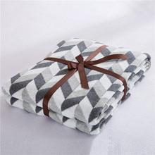 Cozzy 2016 Новый 120×180 см Геометрическая Трикотажные Бросить Одеяло для Диван-Кровать Диван Путешествия Автомобиля Крышка 100% Хлопок серый Ромб (алмаз)