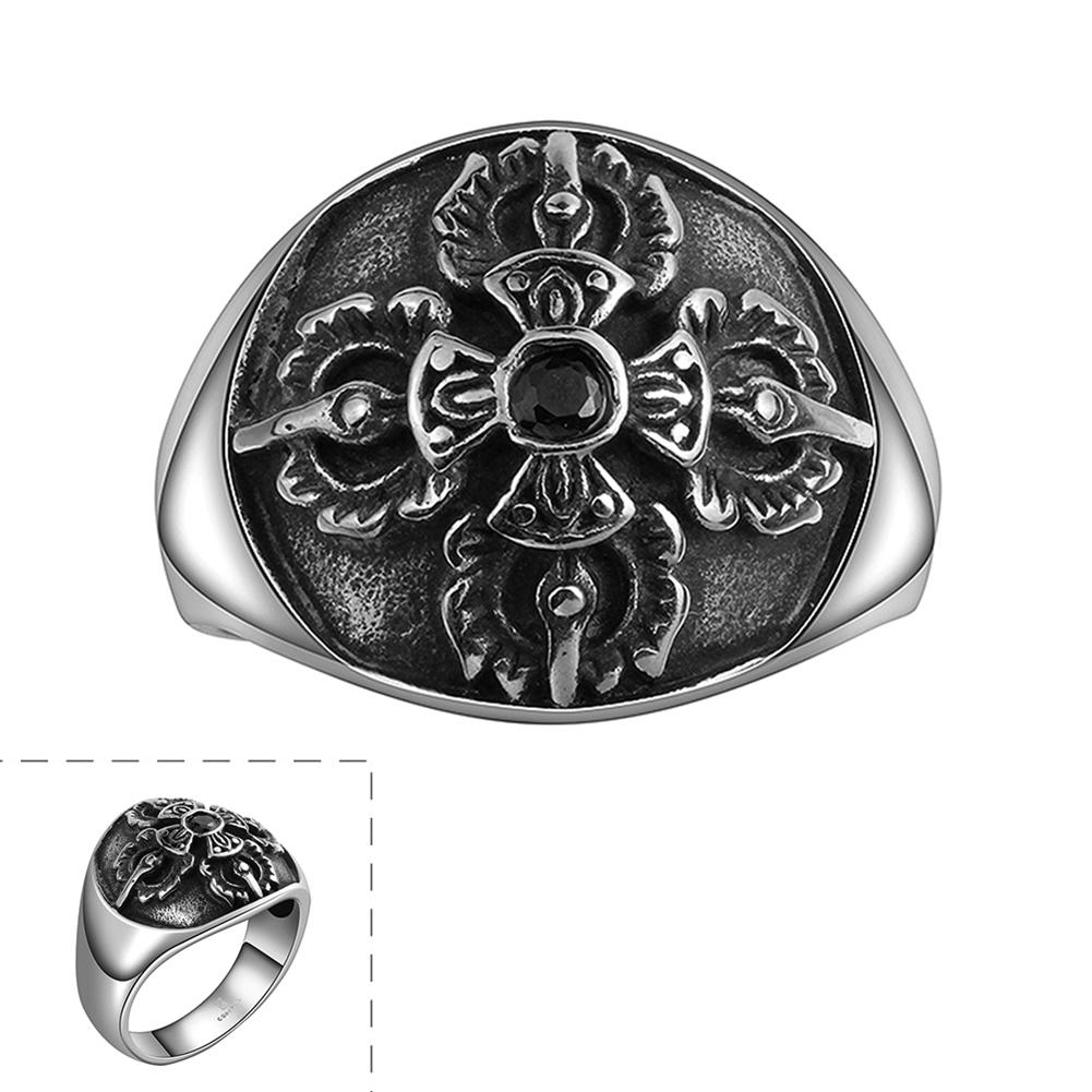 DreamBell Stainless Steel Ring for Men Creative Cross Shape Retro Exaggeration Personality Fashion Finger Rings