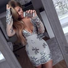 [BIG SALE] New Trend Multicolor Sexy Deep V Sequins Package Hip Long-sleeved Dress XS~XL 5 Colors