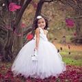 Blanco Perla Couture Flower Girl Dress Tutu Vestido de Bautizo Vestidos de Noche Adolescente Niñas Tutu Vestidos Personalizar tamaño PT136