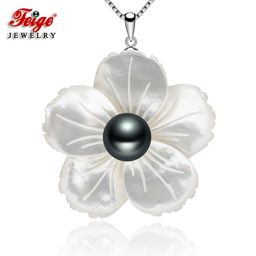 FEIGE Exclusive design Shell carving Black Freshwater Pearl Necklaces & Pendants For Women's 925 Sterling Silver Chain Jewelry