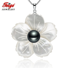 Feige Exclusive design Shell carving Black Freshwater Pearl Necklaces Pendants For Women s 925 Sterling Silver