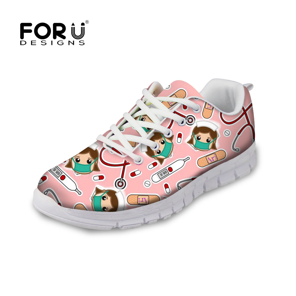 FORUDESIGNS Pink Women Casual Sneakers Flats Cute Nurse Print Casual Women's Breathable Air Mesh Shoes Woman Light Walking Shoes instantarts cute cartoon pediatrics doctor print summer mesh sneakers women casual flats super light walking female flat shoes