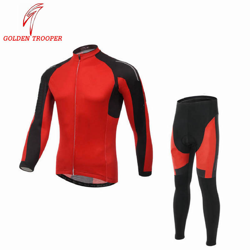 Long Sleeve Winter Thermal Fleece Cycling Warm Top Jerseys Breathable Bicycle Clothing Red Color Customized Windproof