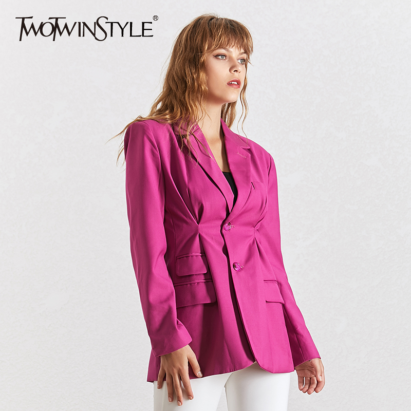 TWOTWINSTYLE Summer Solid  Blazer For Women Lapel Collar Long Sleeve Button Big Size Coat Female Fashion Clothes 2020 New