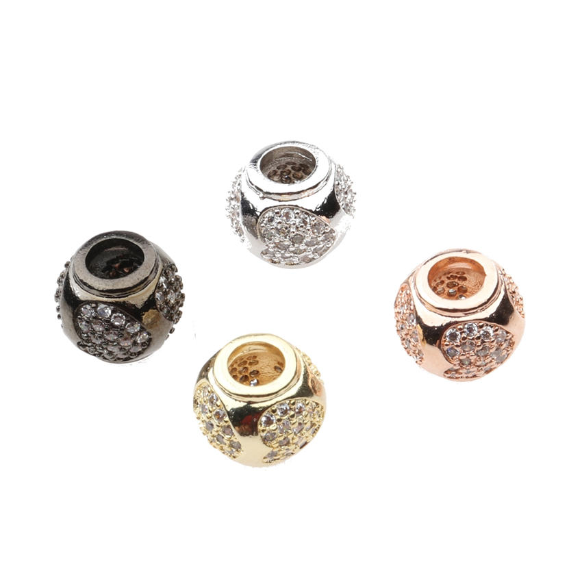 NEW DIY Jewelry Supplies Micro Pave Zircon Big Hole Heart Beads For Women Men Pan Snake Chains Bracelets DIY Making