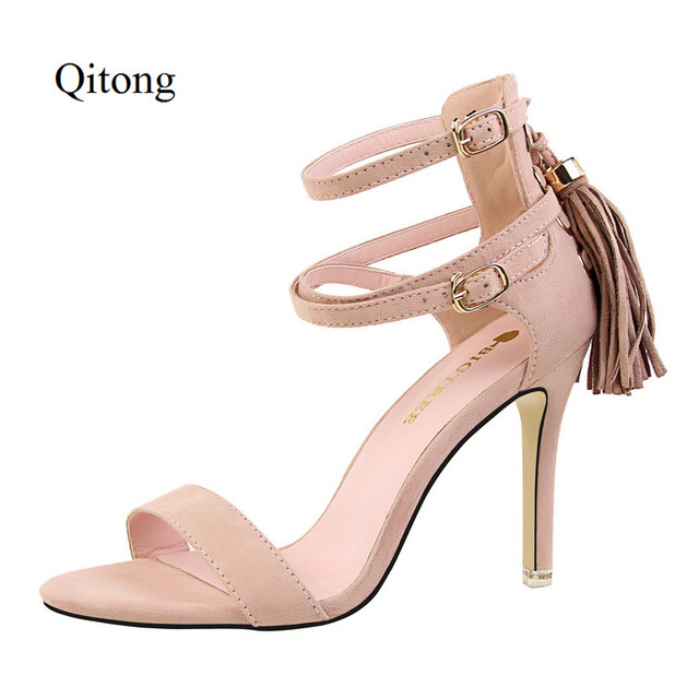 dab820535df US $22.56 |Special Fringe Pattern Flock Material Women Thin High Heels  Sandals Nude Color Wedding Shoes for Sweet Lady Fashion Summer Style-in  Women's ...