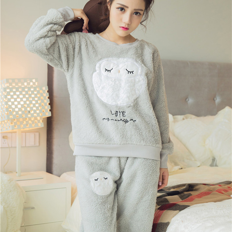 women 39 s coral fleece nighty sleepwear cute owl pattern autumn winter ladies long sleeve On nightwear winter