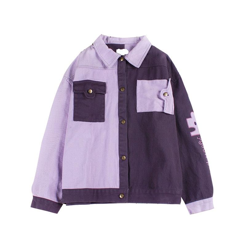 Automne hiver femmes violet couleur bloc couture velours côtelé veste lettres Patchwork simple boutonnage poches vêtements d'extérieur manteau 2018