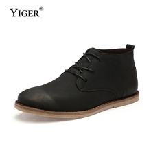 YIGER New Men Ankle Boots Man Tooling shoes Autumn/Winter Lace-up Chelsea Leather Warm with fur Martins boots  0192