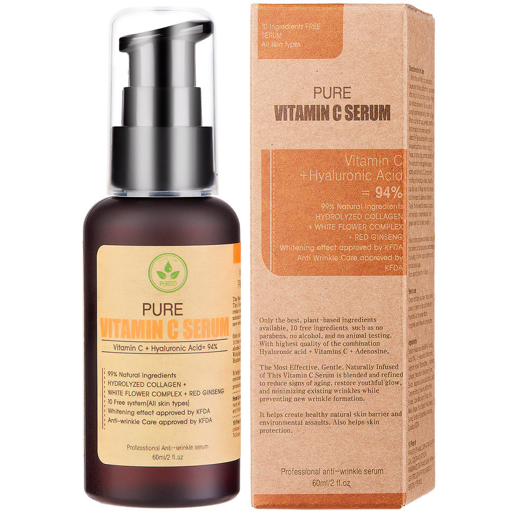 Best Korea Cosmetics PURITO Pure Vitamin C Serum 60ml Face Cream Anti-wrinkle Serum Acne Pimples Treatment Black Head Remover best korea cosmetics purito pure vitamin c serum 60ml face cream anti wrinkle serum acne pimples treatment black head remover